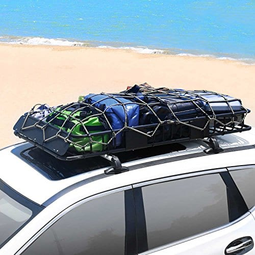 XCAR Roof Rack Carrier Basket Rooftop Cargo Carrier with Extension Black Car Top Luggage Holder 64x 39x 6 Universal for SUV Cars
